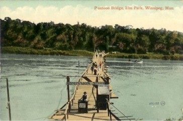 The pontoon bridge leading over to Elm Park was the only way to get into the park.