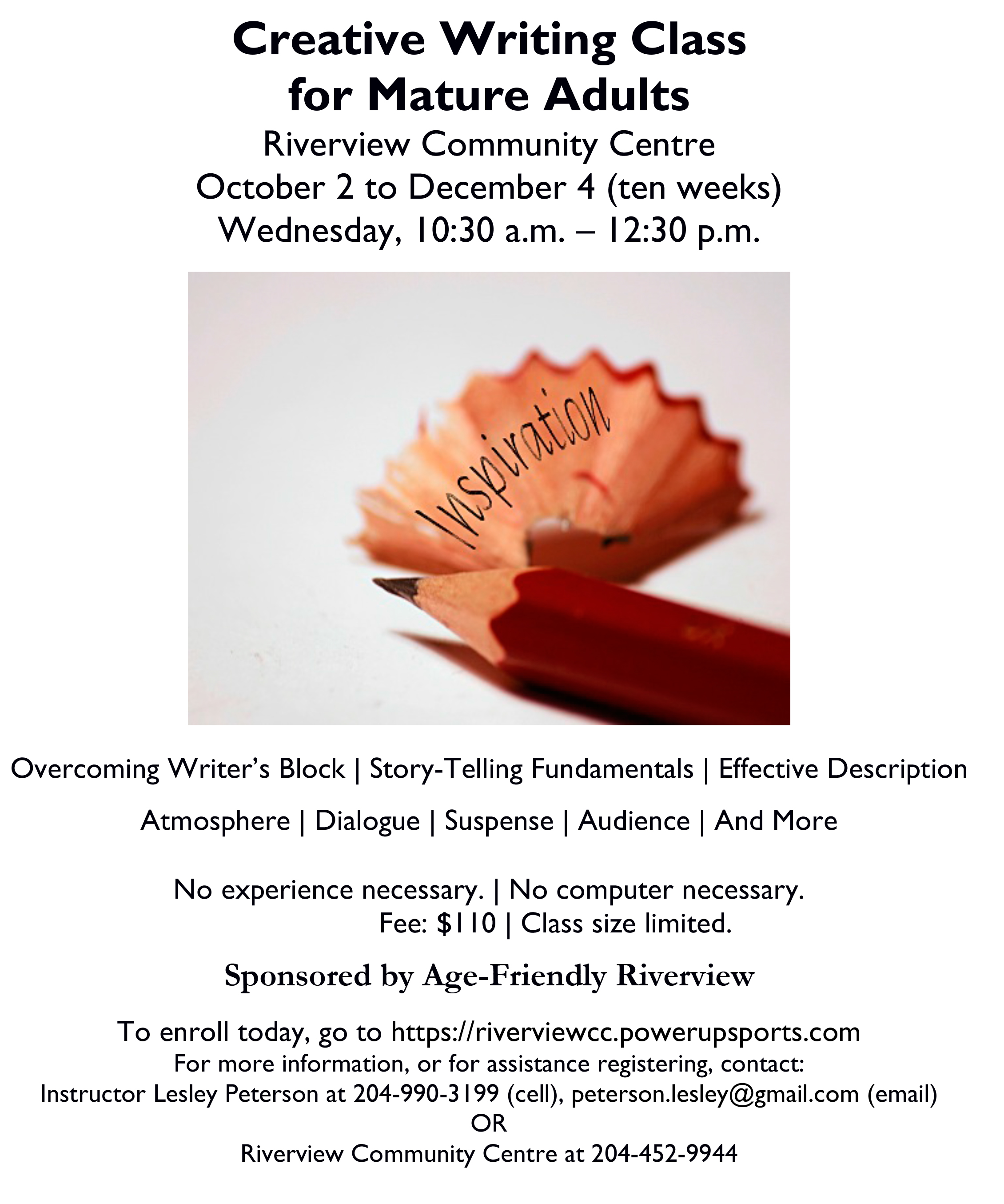 Writing Course for Mature Adults | Riverview Community Centre