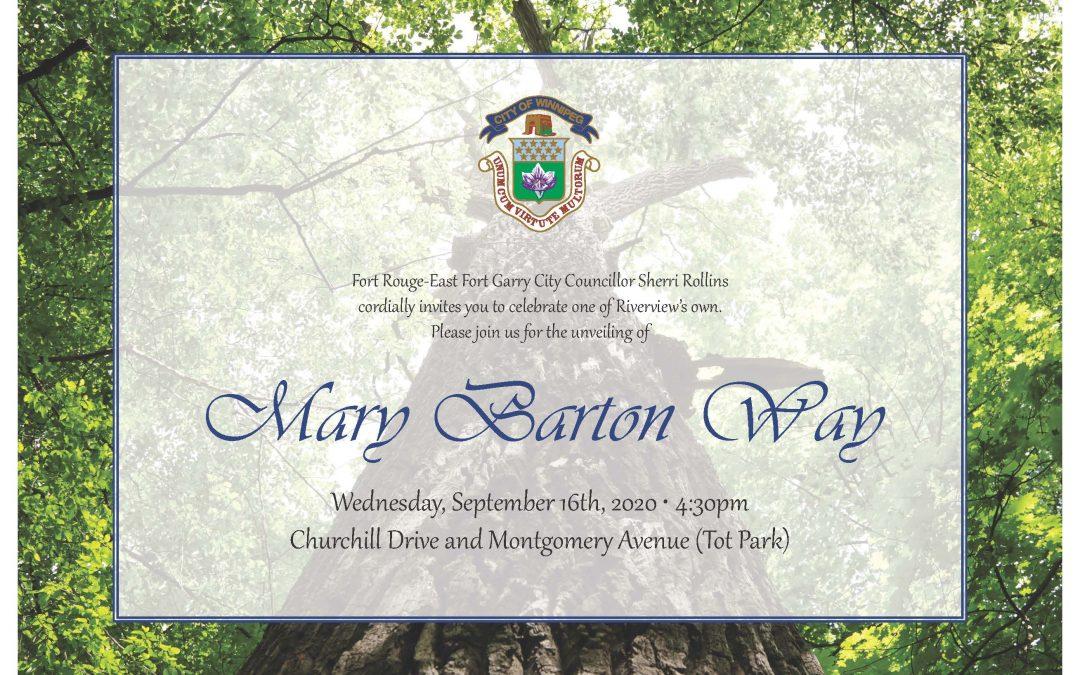 Mary Barton Way Unveiling