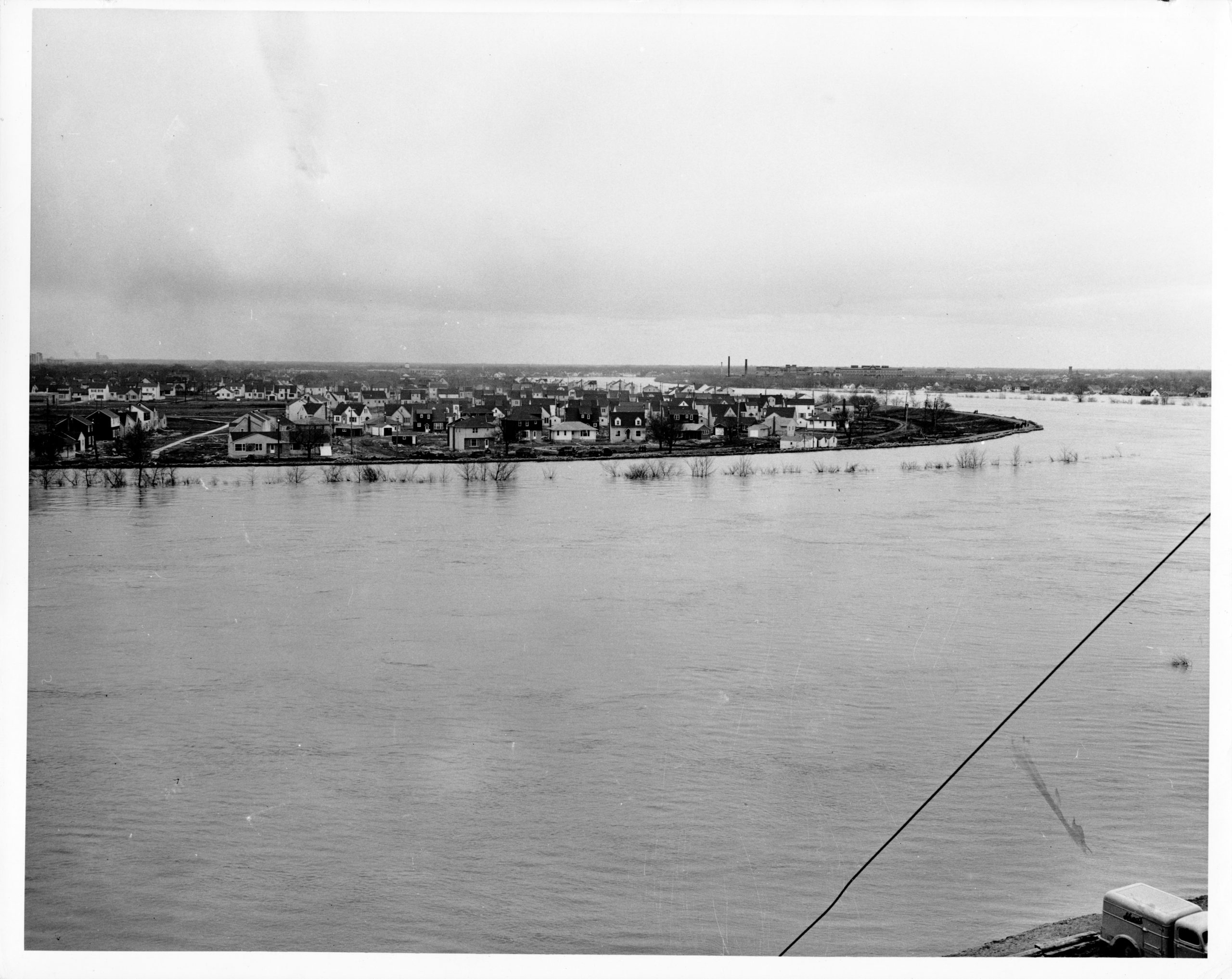 from roof of pelisier 1950s flood