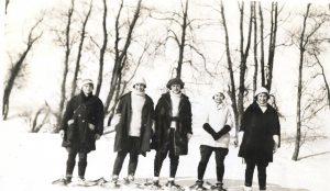 women snowshoeing River Park 1923