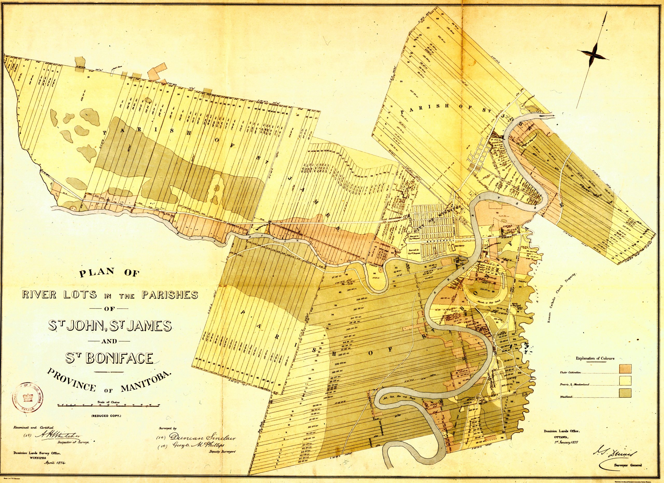 Plan of River Lots in the Parishes of St John St James and St Boniface 1874