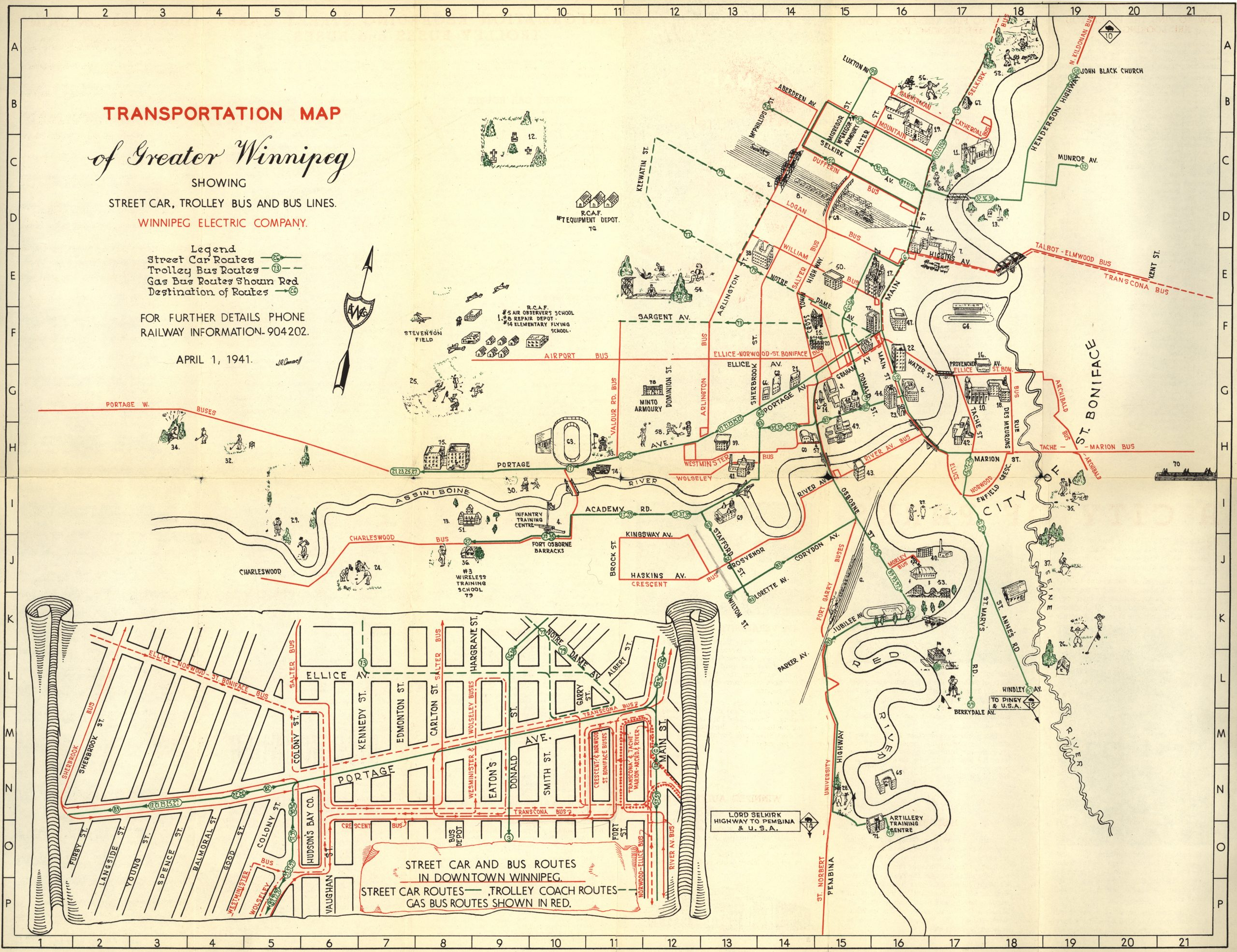 Transportation Map of Greater Winnipeg Showing Street Car Trolley Bus and Bus Lines 1941