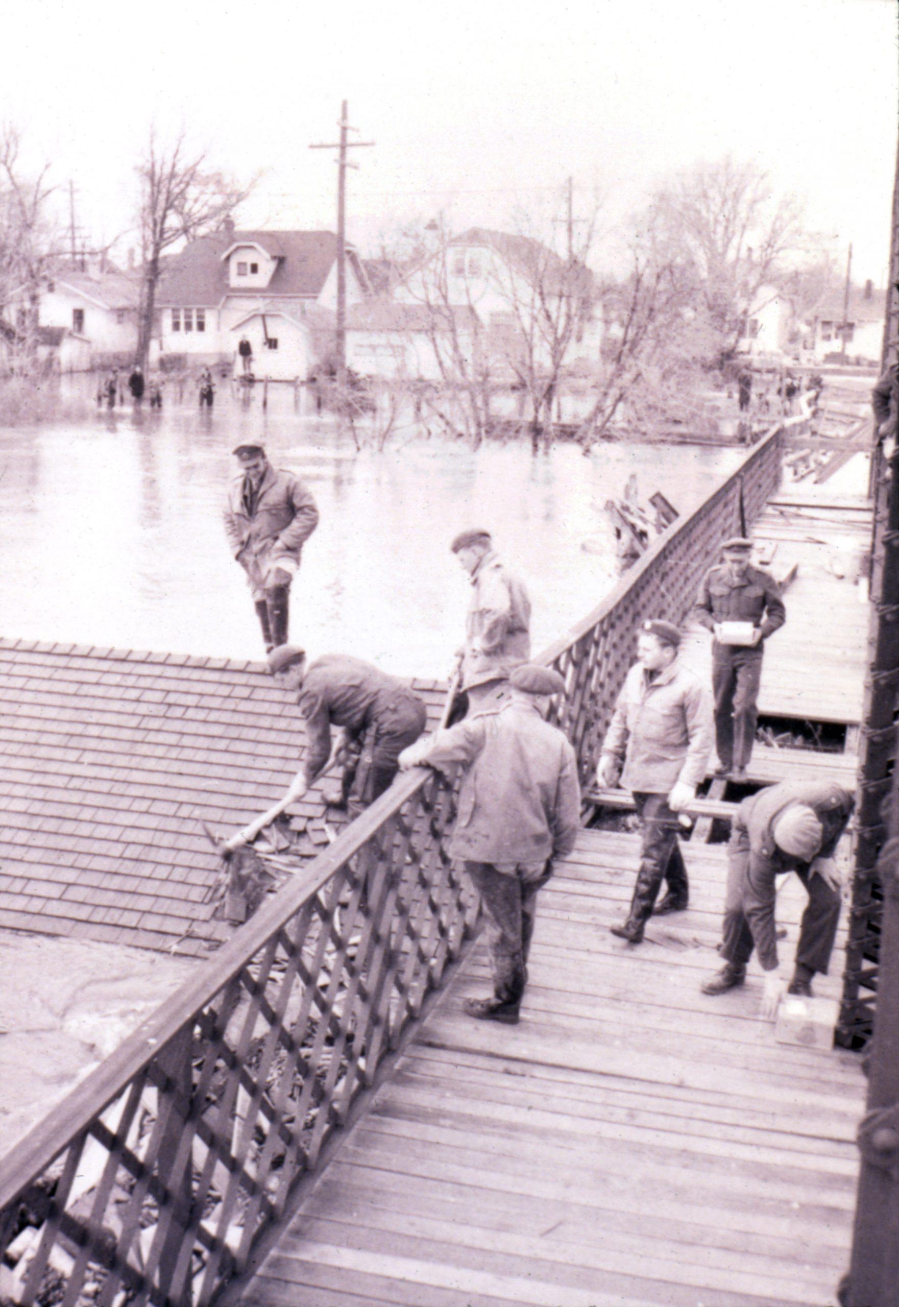 Elm Park Bridge during 1950s flood